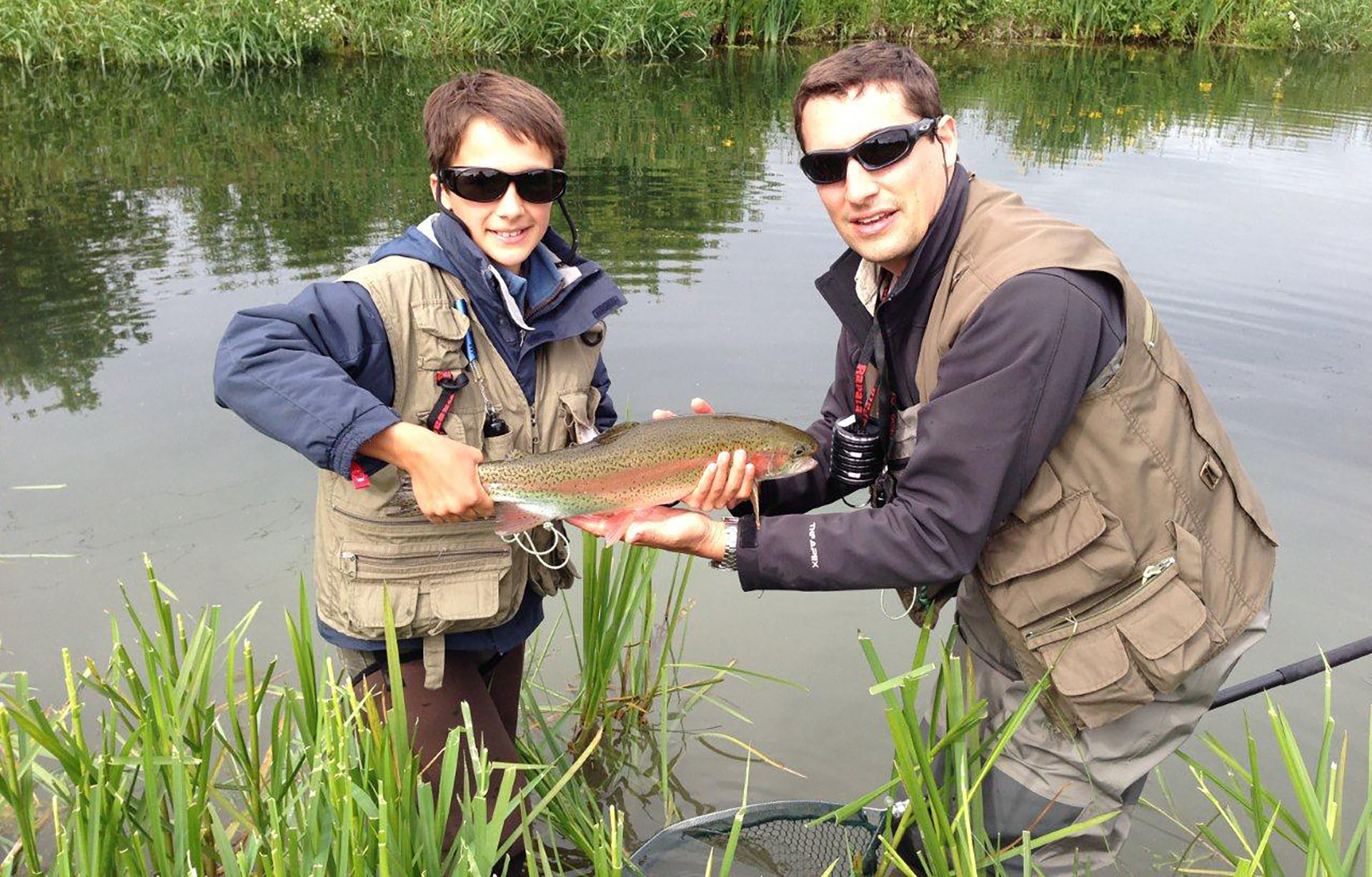 father and son rainbow trout